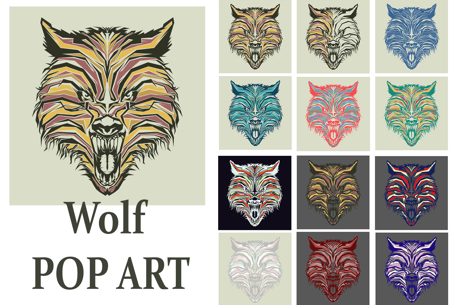 Print on Demand: Wolf Pop Art Graphic Illustrations By Gblack Id