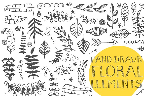 120+ Hand Drawn Floral Elements Graphic Illustrations By Favete Art - Image 2