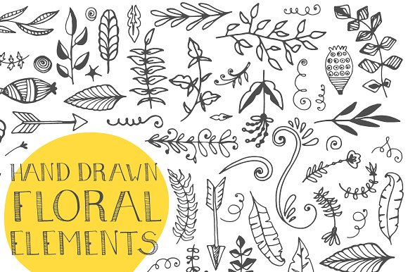 120+ Hand Drawn Floral Elements Graphic Illustrations By Favete Art - Image 3
