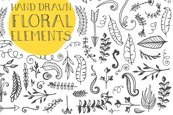 120+ Hand Drawn Floral Elements Graphic Illustrations By Favete Art - Image 4