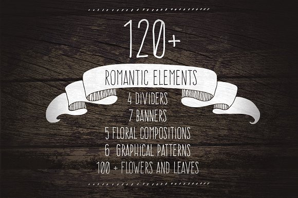 Download Free 120 Romantic Elements Graphic By Favete Art Creative Fabrica for Cricut Explore, Silhouette and other cutting machines.