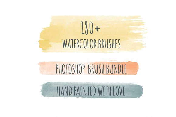 180+ Handmade Watercolor PS Brushes Graphic Brushes By Favete Art