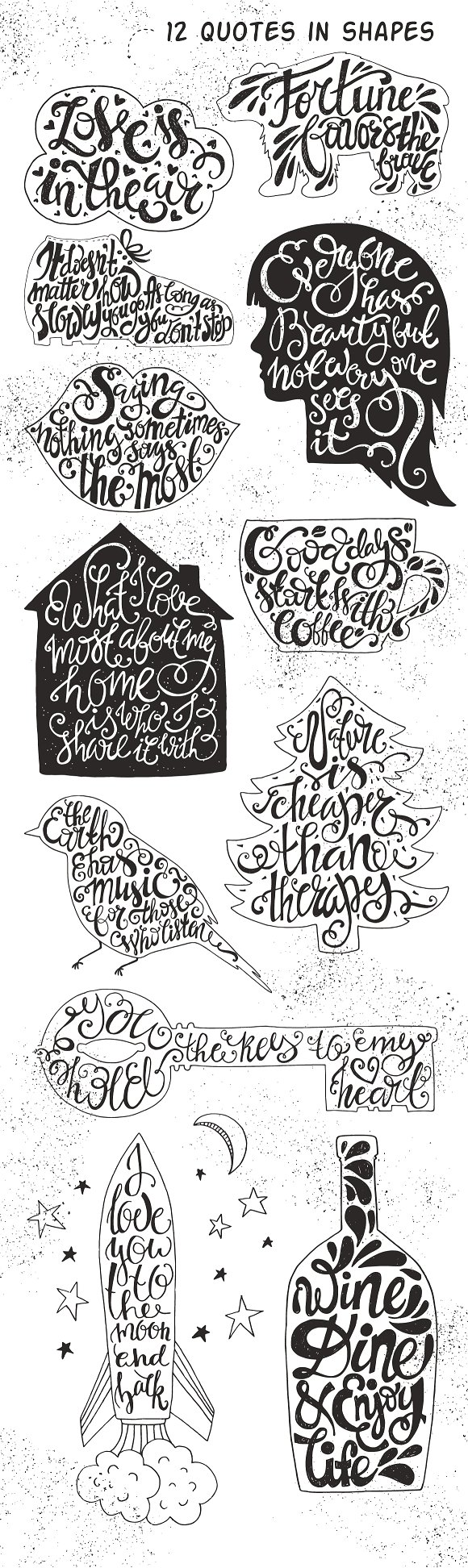 Download Free 26 Handdrawn Romantic Posters Graphic By Favete Art Creative for Cricut Explore, Silhouette and other cutting machines.