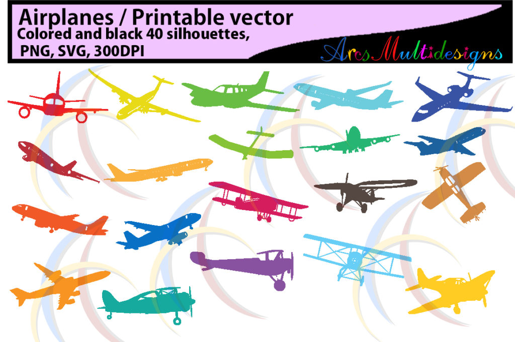 Print on Demand: Airplane Silhouettes Graphic Objects By Arcs Multidesigns