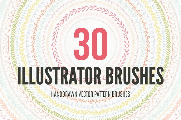 30 Handdrawn Vector Pattern Brushes Graphic Brushes By Favete Art