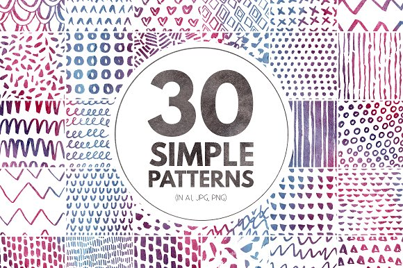 30 Simple Seamless Patterns Graphic Patterns By Favete Art