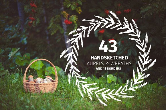 43 Handsketched Laurels & Wreaths Graphic By Favete Art