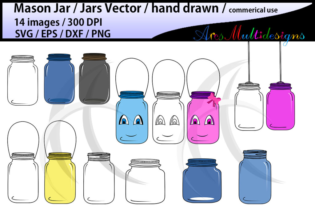 Print on Demand: Mason Jar Clipart Set Graphic Illustrations By Arcs Multidesigns