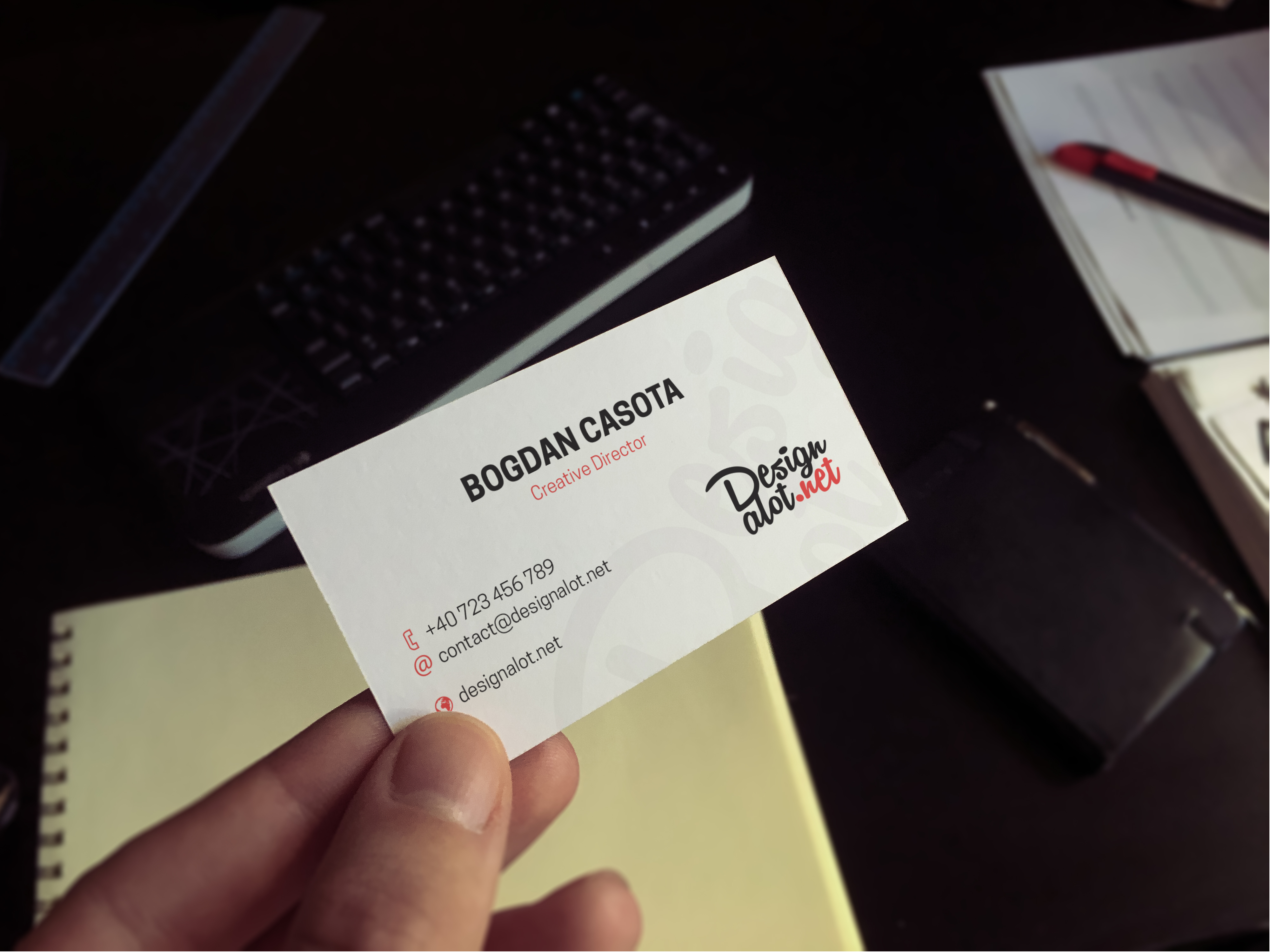 Print on Demand: 5 Business Cards Mockups Graphic Product Mockups By Design A Lot