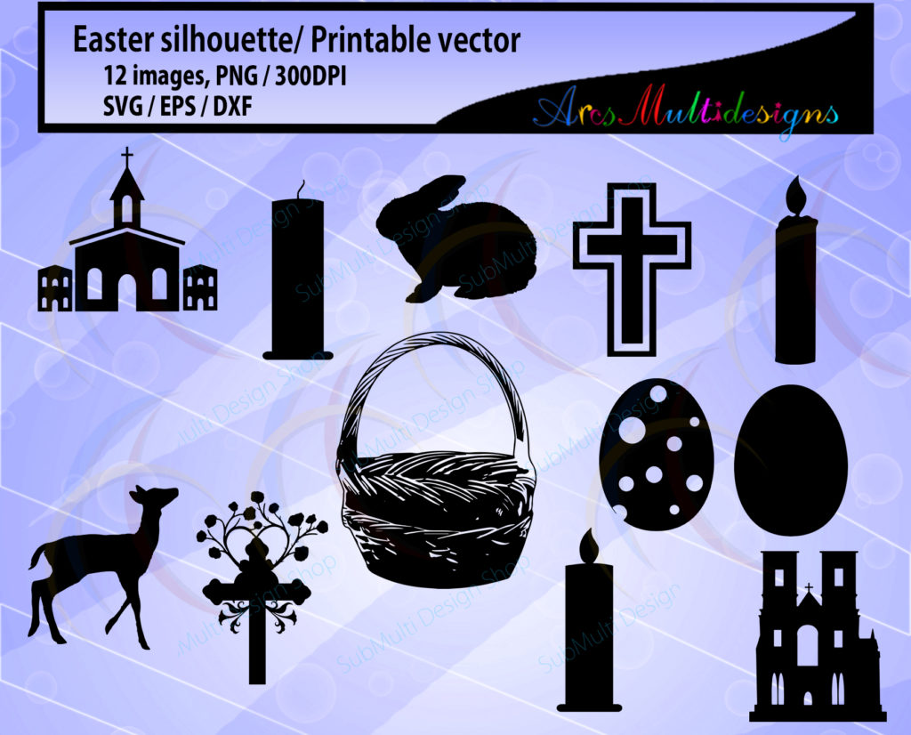 Print on Demand: Easter Silhouette Clipart Graphic Objects By Arcs Multidesigns