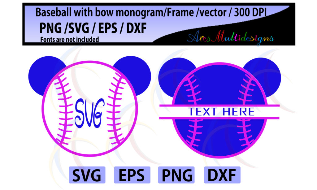 Print on Demand: Baseball / Softball with Bow Graphic Crafts By Arcs Multidesigns