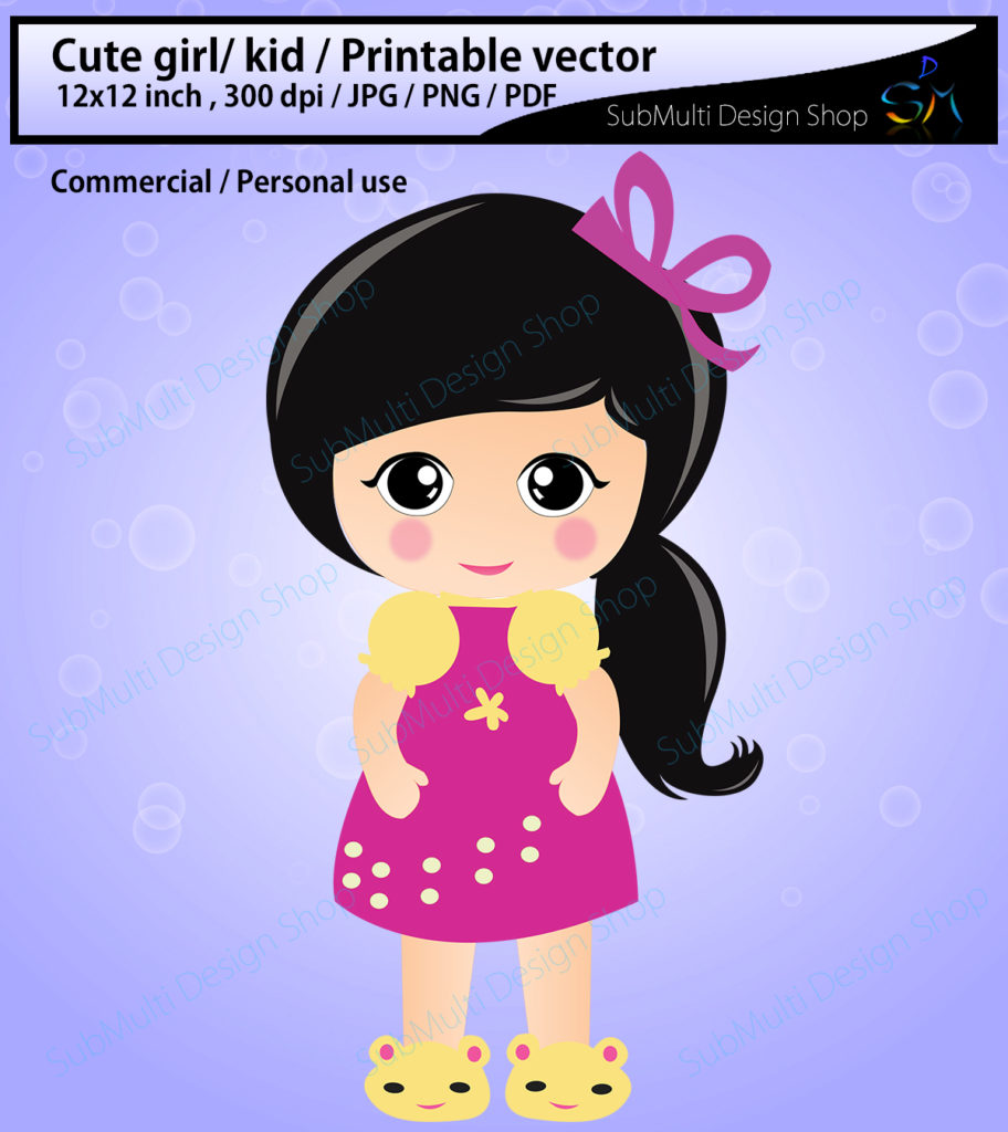 Print on Demand: Cute Girl/Kid Illustration Graphic Illustrations By Arcs Multidesigns - Image 1