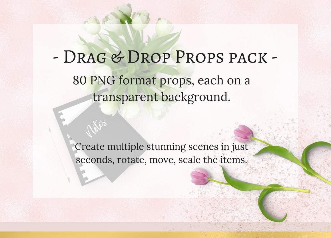 80 Drag & Drop Props Pack Graphic Product Mockups By Creative Stash