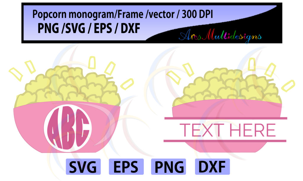 Print on Demand: Popcorn Monogram and Frames Graphic Crafts By Arcs Multidesigns