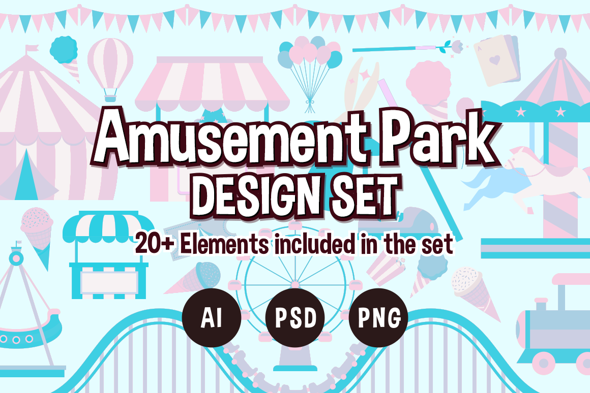 Download Free Amusement Park Design Set Graphic By The Stock Croc Creative for Cricut Explore, Silhouette and other cutting machines.