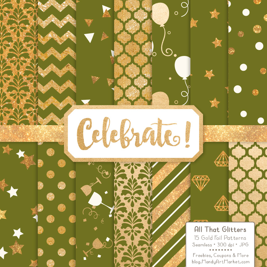 Download Free Black Celebrate Gold Digital Paper Set Graphic By Amanda Ilkov for Cricut Explore, Silhouette and other cutting machines.
