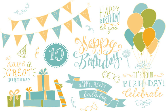 Birthday Overlays Graphic Illustrations By The Pen and Brush