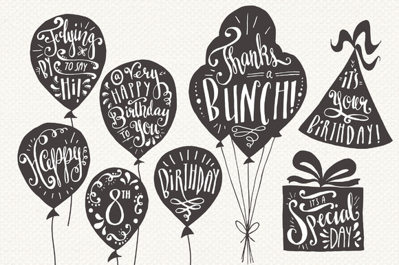 Birthday and Greeting Overlays Graphic Illustrations By The Pen and Brush