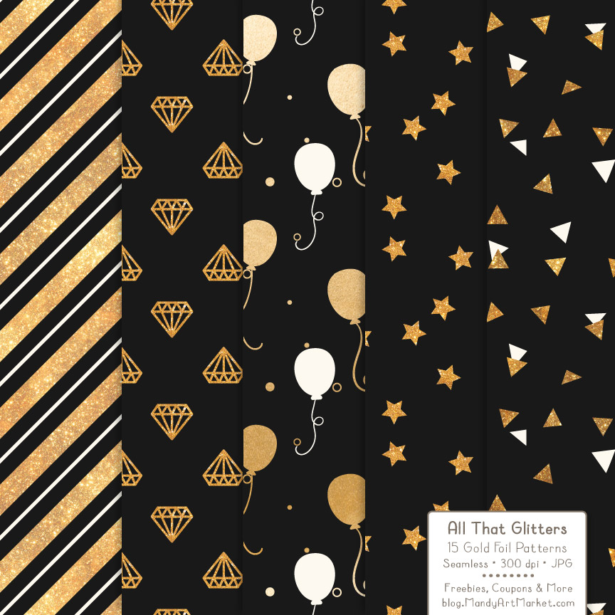 Download Free Black Celebrate Gold Digital Paper Set Grafico Por Amanda Ilkov for Cricut Explore, Silhouette and other cutting machines.
