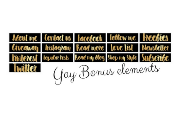 Blog Elements - Black & Gold Graphic Web Elements By Creative Stash - Image 4
