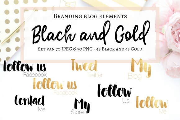 Blog Elements - Black & Gold Graphic Web Elements By Creative Stash - Image 1