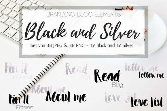 Blog Elements - Black and Silver Graphic Web Elements By Creative Stash
