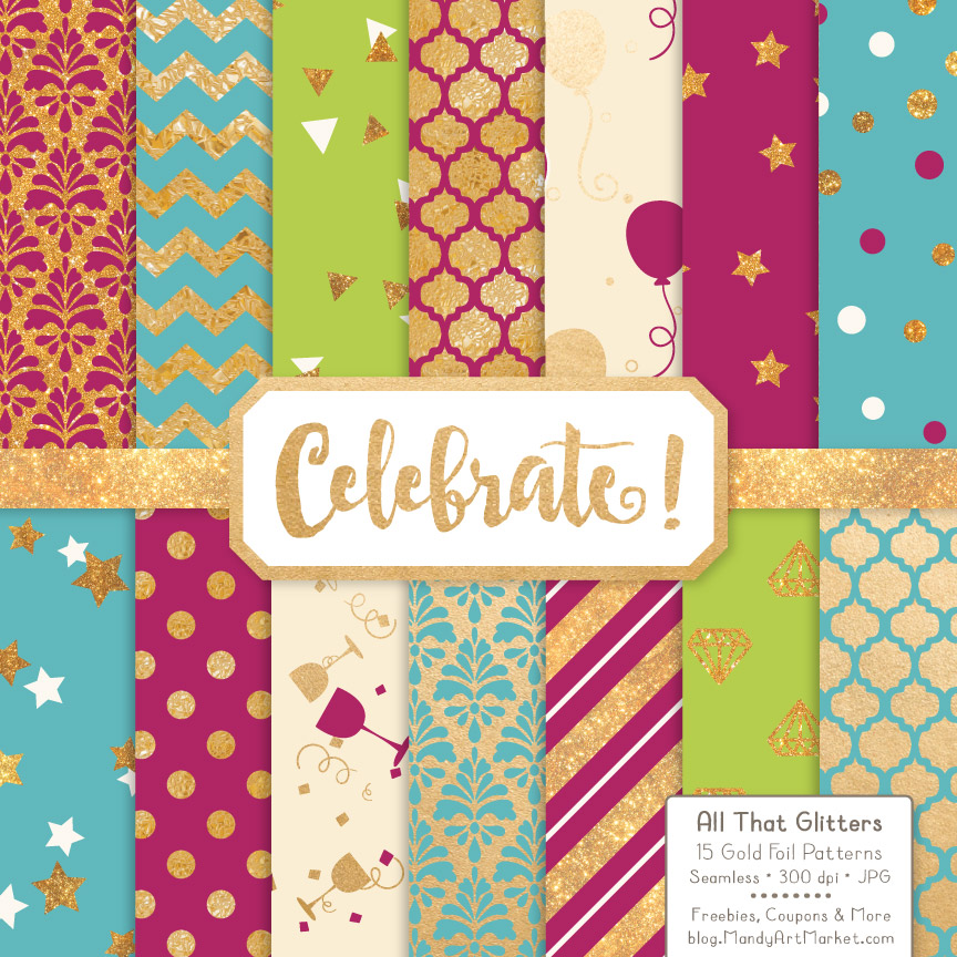 Bohemian Celebrate Gold Digital Paper Set Graphic Patterns By Amanda Ilkov