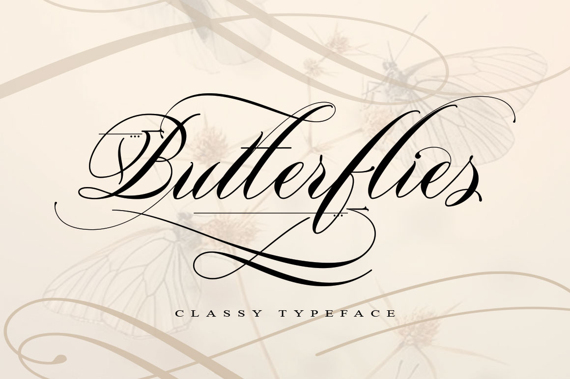 Print on Demand: Butterflies Script & Handwritten Font By beeart009 - Image 1