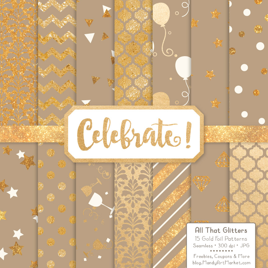 Champagne Celebrate Gold Digital Paper Set Graphic Patterns By Amanda Ilkov
