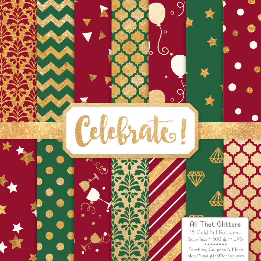 Download Free Christmas Celebrate Gold Digital Paper Set Grafico Por Amanda for Cricut Explore, Silhouette and other cutting machines.