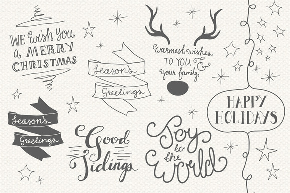 Christmas Overlays Set 4 Graphic Objects By The Pen and Brush