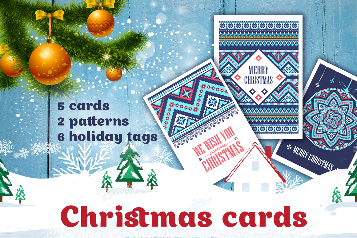 Christmas Cards, Patterns and Tags Graphic Objects By Peliken