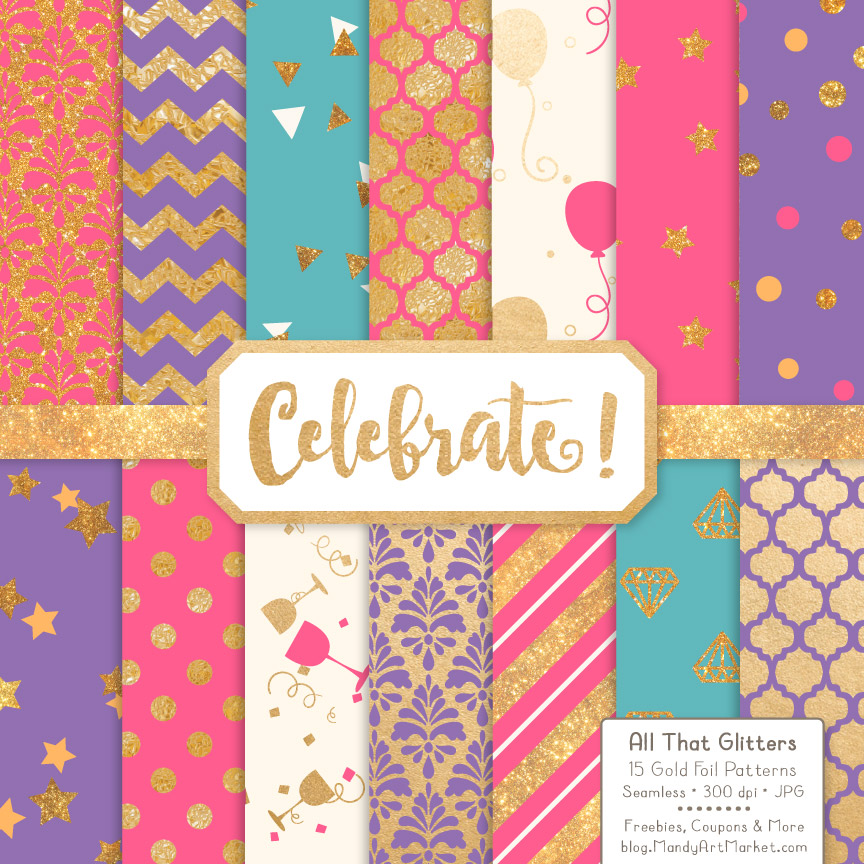 Crayon Box Girl Celebrate Gold Digital Paper Set Graphic Patterns By Amanda Ilkov