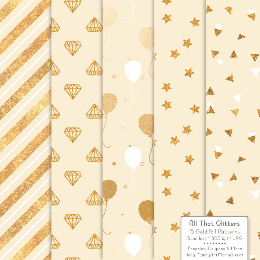 Download Free Cream Celebrate Gold Digital Paper Set Graphic By Amanda Ilkov for Cricut Explore, Silhouette and other cutting machines.