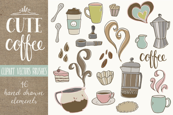 Cute Coffee Clip Art Graphic Illustrations By The Pen and Brush