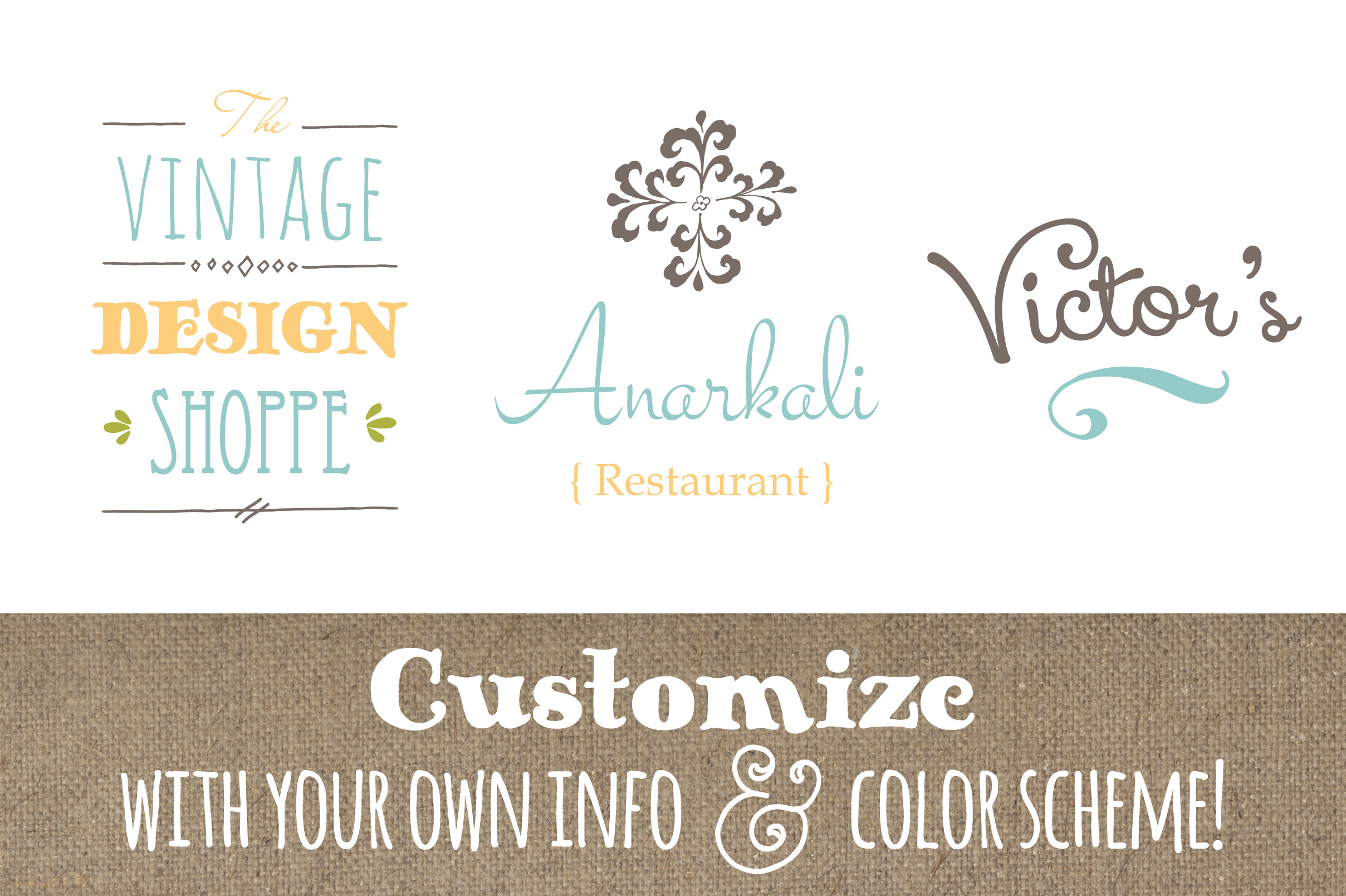 Cute Premade Logo Set 1 Graphic Logos By The Pen and Brush