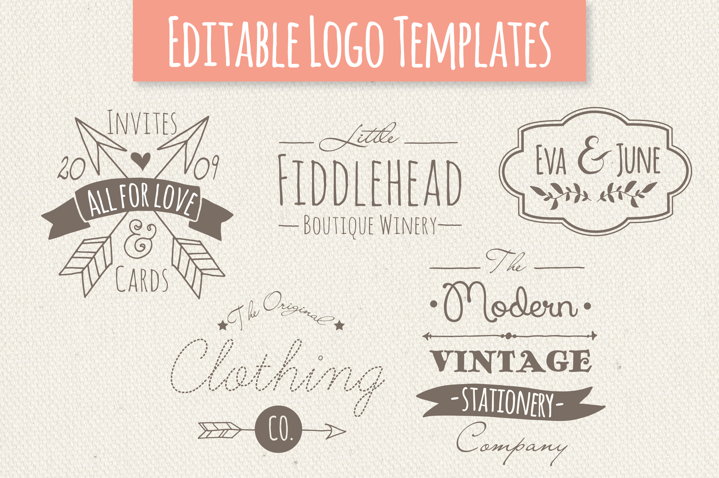 Download Free Cute Premade Logo Set 3 Graphic By The Pen And Brush Creative for Cricut Explore, Silhouette and other cutting machines.