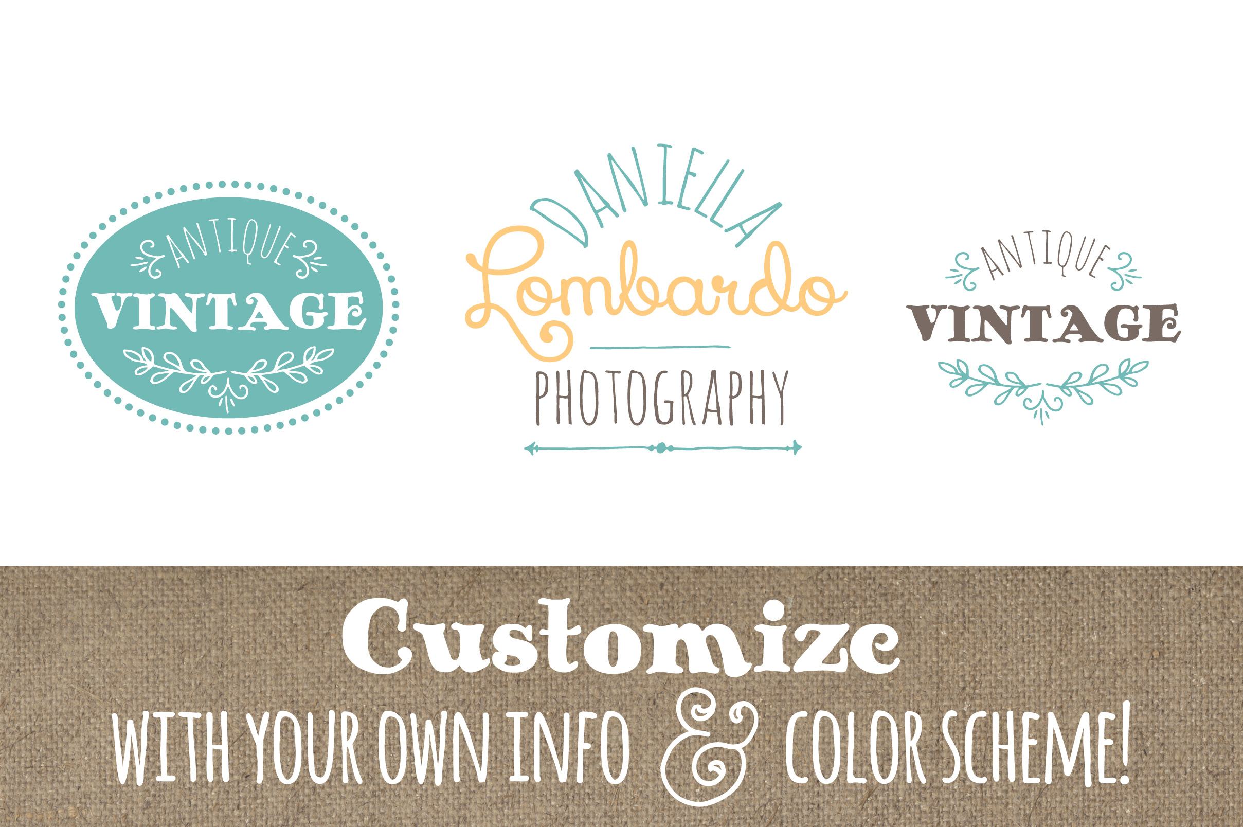 Cute Premade Logo Set 3 Graphic Logos By The Pen and Brush