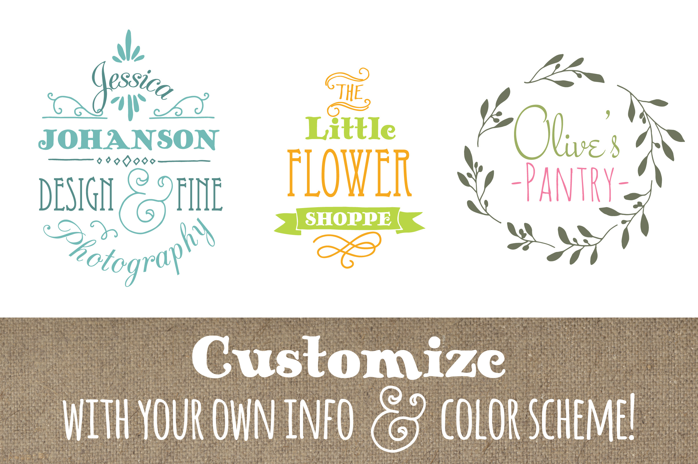 Cute Premade Logo Set 5 Graphic Logos By The Pen and Brush