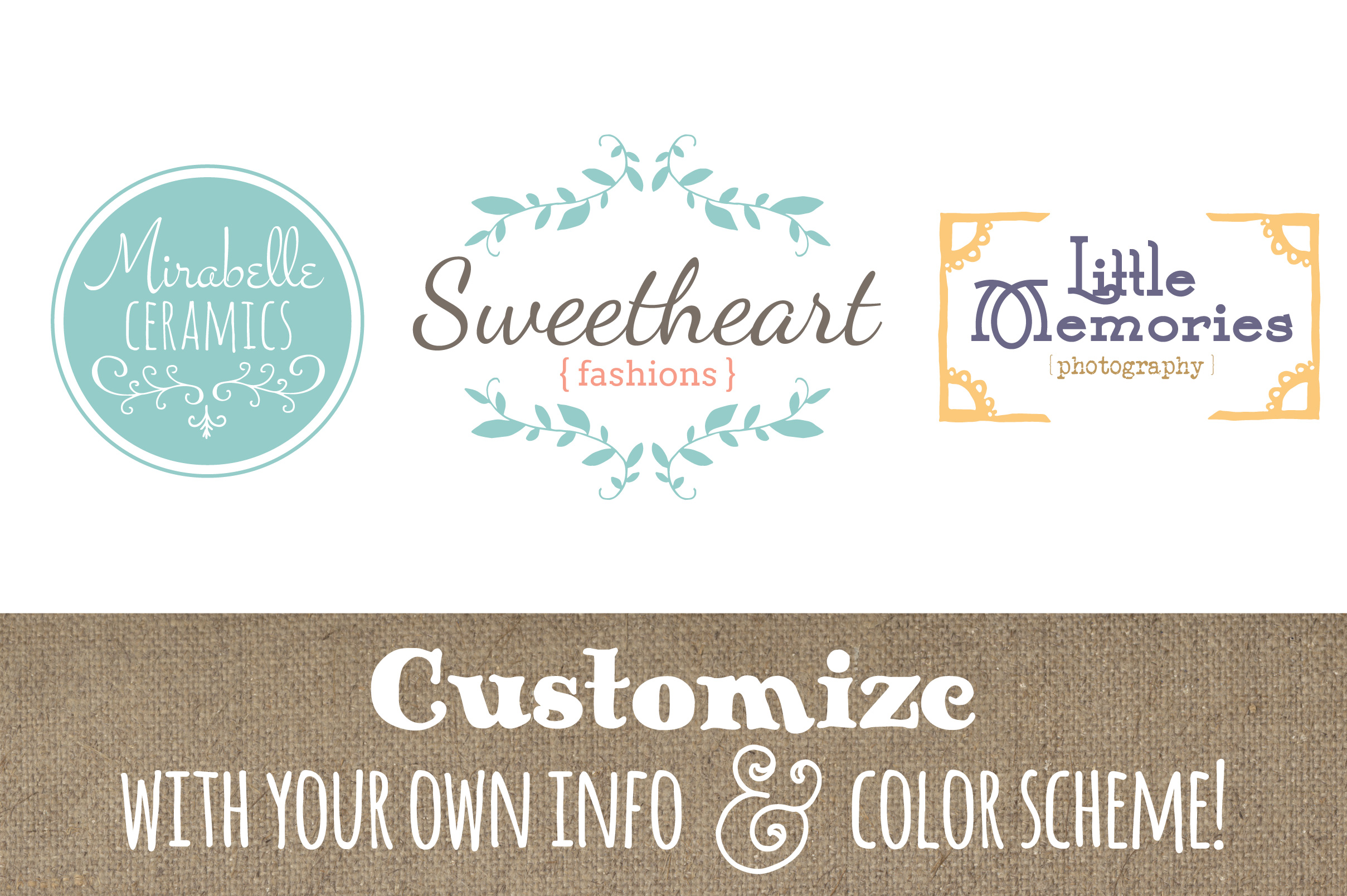 Cute Premade Logo Set 6 Graphic Logos By The Pen and Brush
