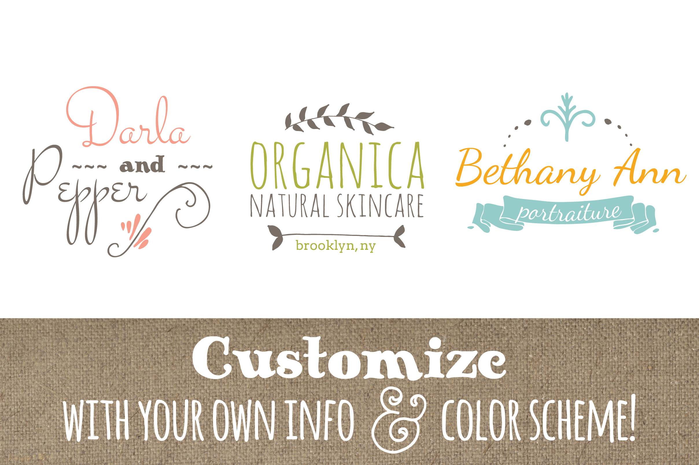 Cute Premade Logo Set 7 Graphic Logos By The Pen and Brush