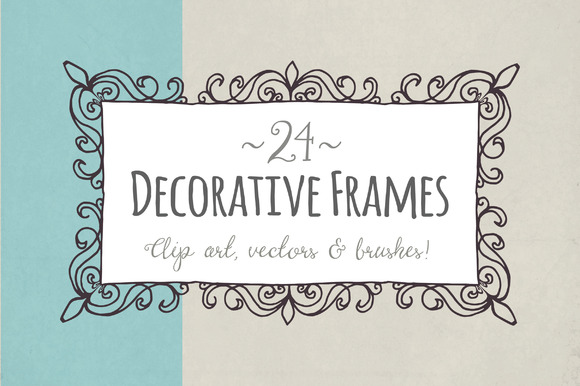 Decorative Frames Set Graphic Objects By The Pen and Brush