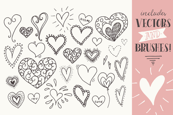 Download Free Doodle Hearts Clip Art Graphic By The Pen And Brush Creative Fabrica for Cricut Explore, Silhouette and other cutting machines.