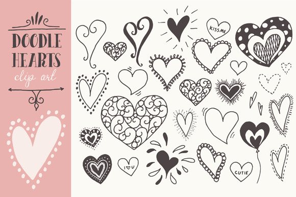 Doodle Hearts Clip Art Graphic Illustrations By The Pen and Brush