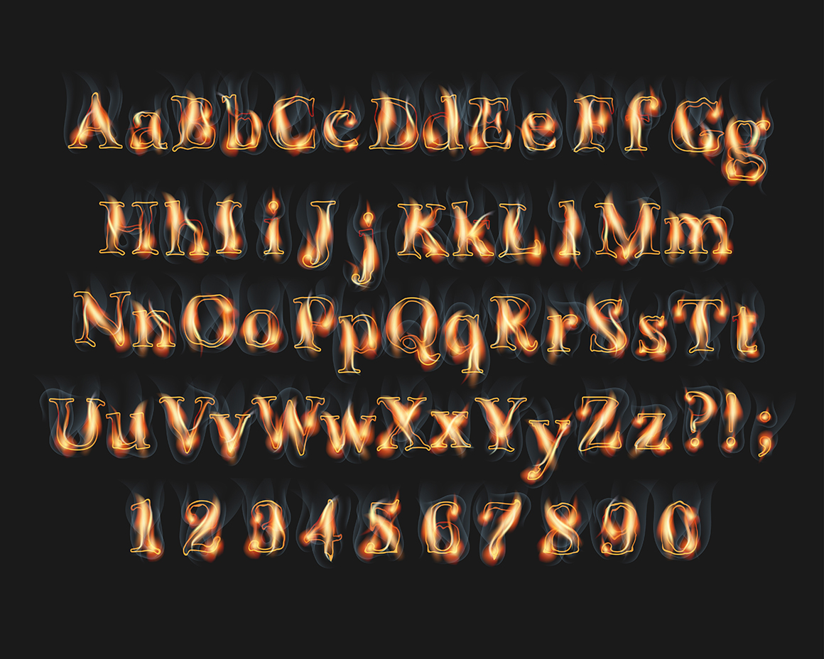 Print on Demand: Fire Burning Alphabet and Numbers Graphic Illustrations By NREY - Image 5