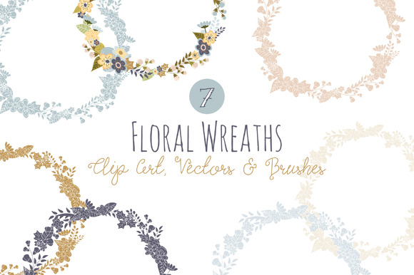 Floral Wreath Overlays & Vectors Graphic Illustrations By The Pen and Brush