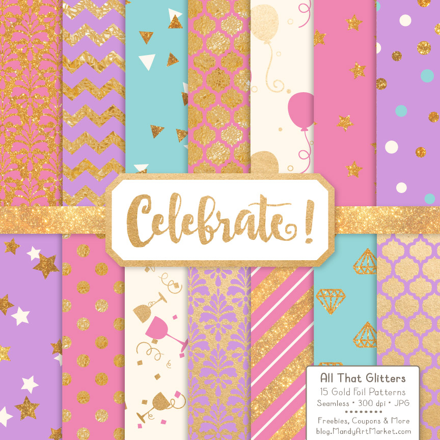 Download Free Chocolate Celebrate Gold Digital Paper Set Graphic By Amanda for Cricut Explore, Silhouette and other cutting machines.