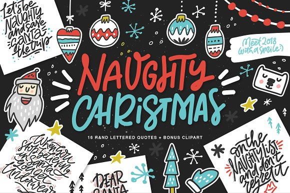 Fun Christmas Lettering & Clipart Graphic Illustrations By Favete Art - Image 1