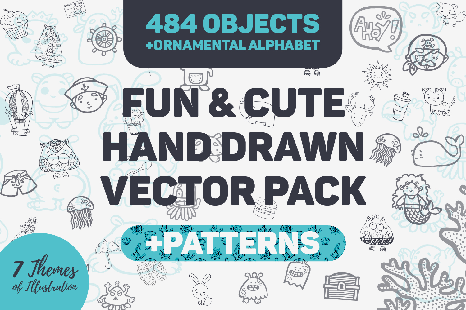 Fun & Cute Hand Drawn Vector Pack Graphic By Nasir Udin