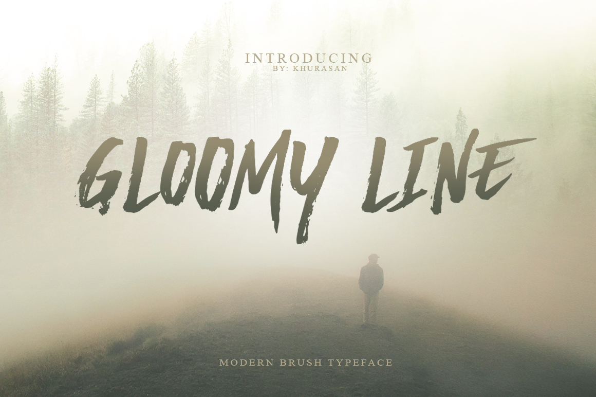 Print on Demand: Gloomy Line Display Font By Khurasan - Image 1